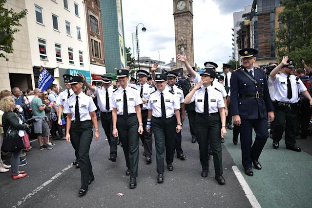 <p>PSNI and Garda officers representative of the gay community take part in the Belfast Gay Pride parade on August 5, 2017 in Belfast, Northern Ireland. (Photo: Charles McQuillan/Getty Images) </p>