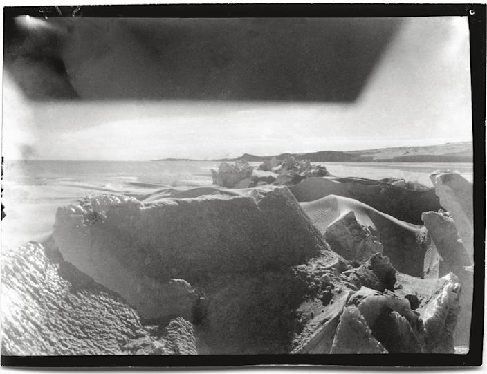 """Ice crack, towards Cape Barne, Cape Evans, 8 October, 1911.<br><br>(Photo credit: ©2011 Richard Kossow)<br><br>For more information on """"The Lost Photographs of Captain Scott"""" and where to buy the book, visit <a href=""""http://www.hachettebookgroup.com/books_9780316178501.htm"""" rel=""""nofollow noopener"""" target=""""_blank"""" data-ylk=""""slk:hachettebookgroup.com"""" class=""""link rapid-noclick-resp"""">hachettebookgroup.com</a>"""