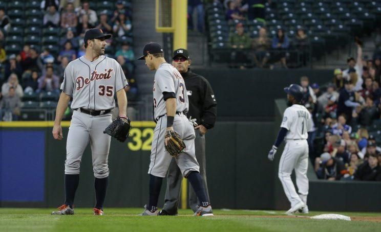 Justin Verlander after Jarrod Dyson bunted to break up his perfect game. (AP)