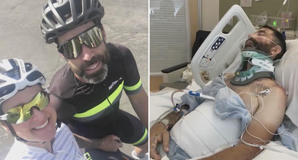 Left, Todd is pictured on his bicycle next to his wife on her bicycle. They are both wearing helmets and sunglasses. Right is an image of Todd in a coma in hospital. Source: KSLTV
