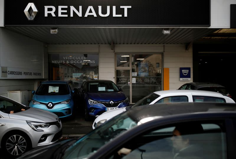 FILE PHOTO: Logo of Renault is pictured at a dealership in Nantes