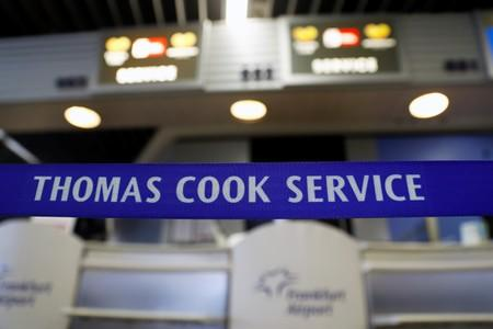 FILE PHOTO: A closed Thomas Cook check-in service is pictured at the Frankfurt Airport