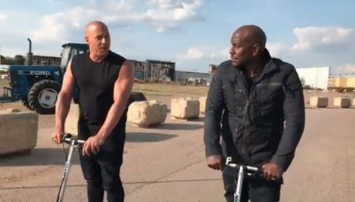 Diesel with Tyrese Gibson on F&F9's set at Leavesden (Credit: Instagram)