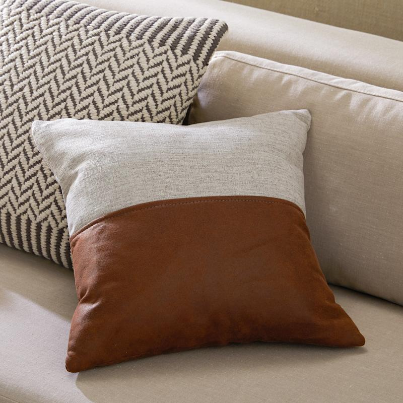 MoDRN Industrial Mixed Material Decorative Throw Pillow (Photo: Walmart)