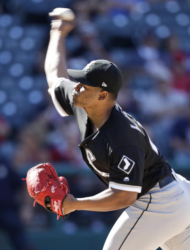Chicago White Sox starting pitcher Reynaldo Lopez delivers in the ninth inning in a baseball game against the Cleveland Indians, Thursday, Sept. 5, 2019, in Cleveland. Lopez pitched a complete game and gave up one hit and one run. The White Sox won 7-1. (AP Photo/Tony Dejak)