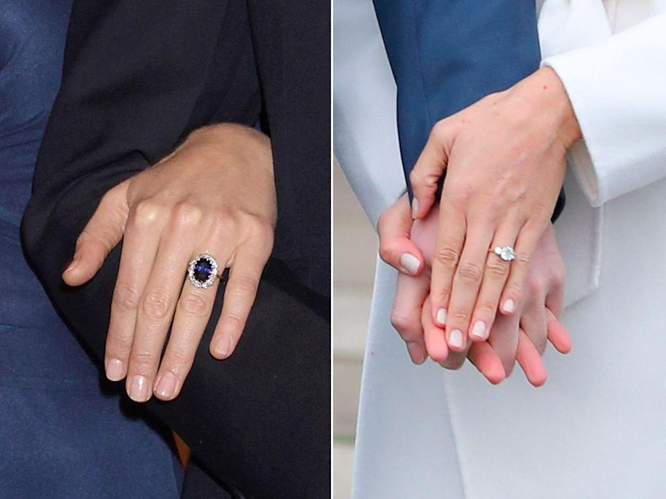 <p>While they are both absolutely beautiful, the two engagement rings worn by Kate and Meghan are very different. Everyone knows, of course, that Prince William gave his fiancé the engagement ring worn by his late mother, Princess Diana. It features 14 solitaire diamonds, which surround a large sapphire stone set in white gold. </p><p>Meghan's ring also features stones from Diana's jewellery collection, but was not an heirloom and was instead designed by Harry himself. It was made by Cleave and Company Court Jewellery and Medalists to the Queen, and sees two of Diana's personal diamonds sat alongside a diamond from Botswana, a country that holds a special place in the couple's hearts.</p>