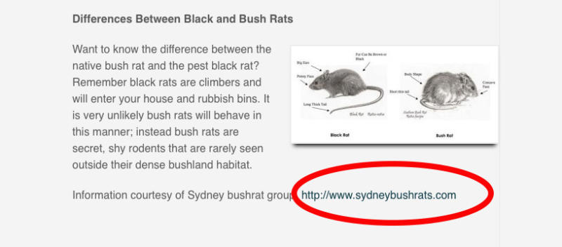 The photo shows a screenshot from an Australian website which used the City of Sydney fact sheet as a source of information.