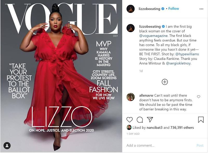 Hip-hop star Lizzo dazzles as Vogue magazine's October cover girl - and makes history