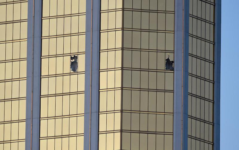 Broken windows are seen on the 32nd floor of the Mandalay Bay Resort and Casino. (David Becker via Getty Images)