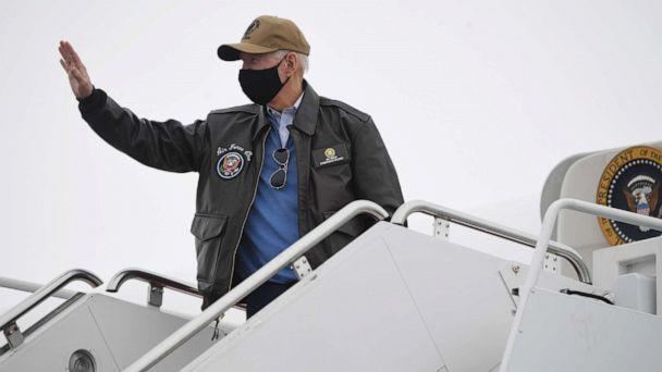 PHOTO: President Joe Biden boards Air Force One prior to departure from Hagerstown Regional Airport in Hagerstown, Md., Feb. 15, 2021, as he returns to Washington, D.C., following a weekend at Camp David. (Saul Loeb/AFP via Getty Images)
