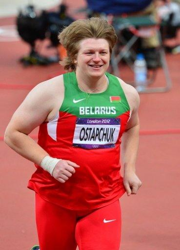 The London Olympics lost its first medallist to a doping scandal on Monday as Belarus shot-putter Nadezhda Ostapchuk (pictured on August 6) was stripped of gold a day after the Games closed in a blaze of music and colour