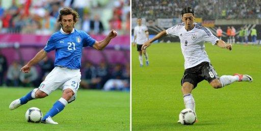 Italian midfielder Andrea Pirlo (L) and Germany's midfielder Mesut Oezil