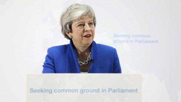 PHOTO: British prime minister Theresa May delivers a speech setting out a new proposal for her Brexit deal in London, May 21, 2019. (Chris Ratcliffe/EPA via Shutterstock)