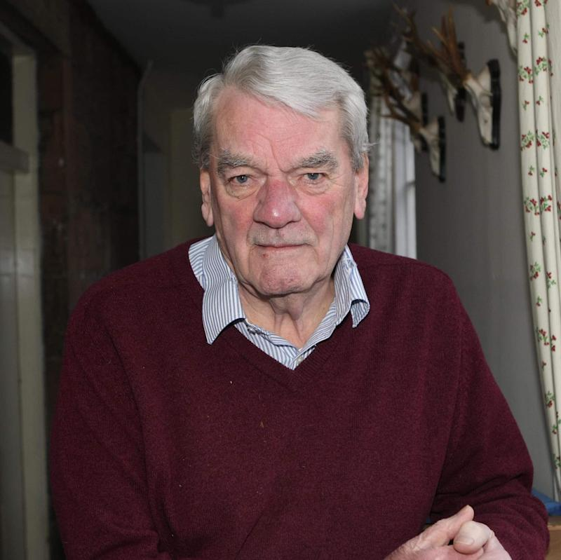 David Irving, Hitler biographer and Holocaust denier photographed at his secret hideaway in the Scottish Highlands. - Copyright (c) 2017 Rex Features. No use without permission.