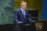 Poland's President Andrzej Duda addresses the 76th Session of the United Nations General Assembly, Tuesday, Sept. 21, 2021 at U.N. headquarters. (AP Photo/Mary Altaffer, Pool)