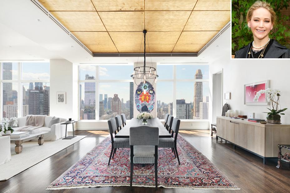 """<p>The Oscar-winning actress, 30, finally sold her sleek apartment for $9.9 million in August 2020, after first putting it on the market with a much higher price tag — $15.45 million — in 2019. </p> <p>The property is located on the top floor of The Laurel, a condominium tower that offers amenities like a concierge, library and an infinity lap pool.</p> <p>The more-than-4,000-square-foot pad features three bedrooms, four and a half baths and a gas fireplace.</p> <p>Split-level outdoor terraces wrap around the apartment. There's also an outdoor kitchen, fireplace, pergola and a built-in ping pong table.</p> <p><a href=""""https://people.com/home/see-inside-jennifer-lawrences-new-york-penthouse-now-listed-for-12-million/"""" rel=""""nofollow noopener"""" target=""""_blank"""" data-ylk=""""slk:See more photos of Jennifer Lawrence's home."""" class=""""link rapid-noclick-resp"""">See more photos of Jennifer Lawrence's home. </a></p>"""