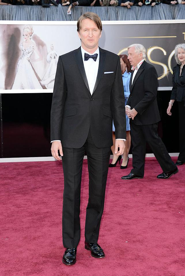 Tom Hooper arrive at the Oscars in Hollywood, California, on February 24, 2013.