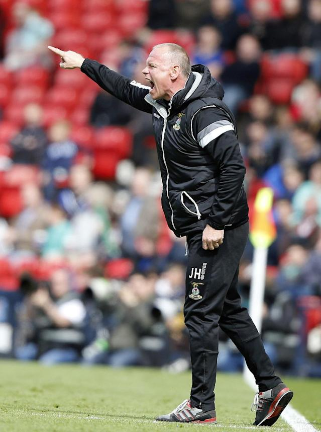 "Football - Falkirk v Inverness Caledonian Thistle - William Hill Scottish FA Cup Final - Hampden Park, Glasgow, Scotland - 30/5/15 Inverness Caledonian Thistle's manager John Hughes during the match Reuters / Russell Cheyne Livepic EDITORIAL USE ONLY. No use with unauthorized audio, video, data, fixture lists, club/league logos or ""live"" services. Online in-match use limited to 45 images, no video emulation. No use in betting, games or single club/league/player publications. Please contact your account representative for further details."