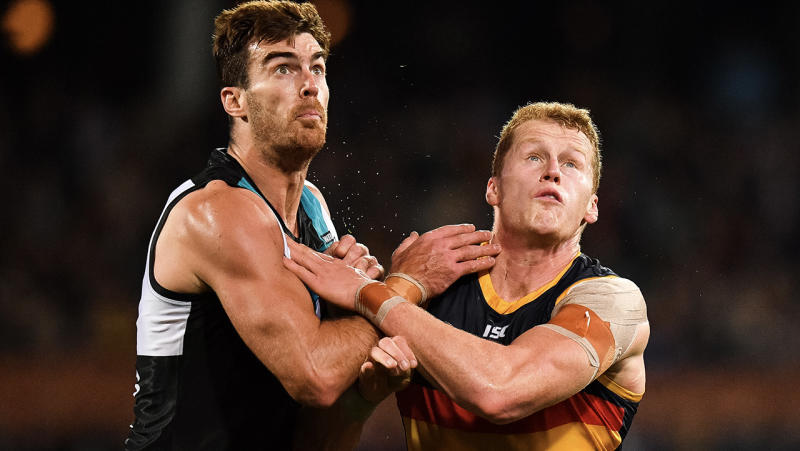 Scott Lycett of the Power and Reilly O'Brien of the Crows tussle for the ball.