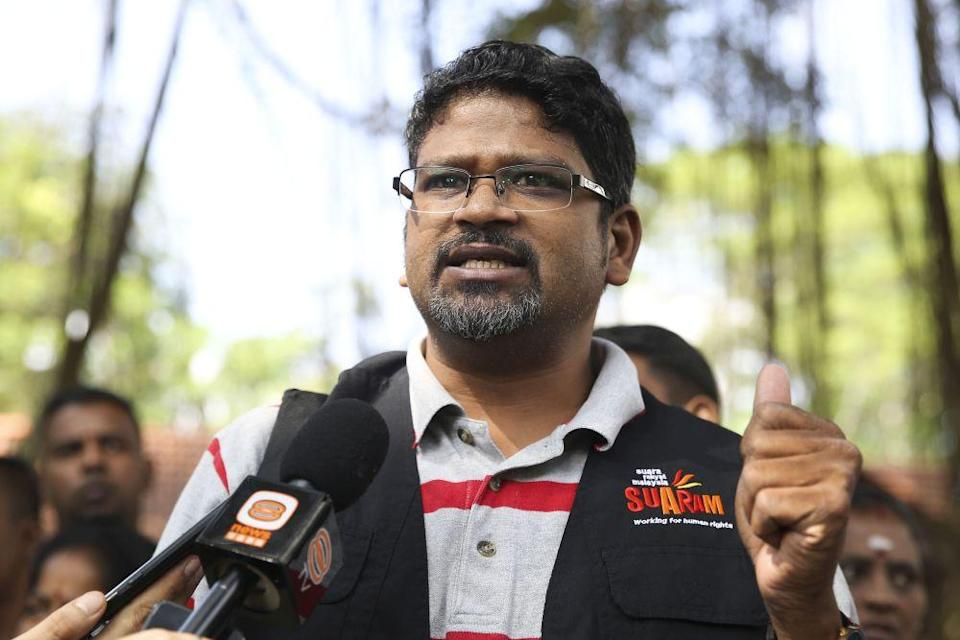 Suaram executive director Sevan Doraisamy speaks to reporters outside the Bukit Aman police headquarters in Kuala Lumpur July 26, 2018. — Picture by Yusof Mat isa