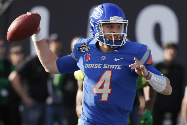 "Boise State quarterback <a class=""link rapid-noclick-resp"" href=""/ncaaf/players/251410/"" data-ylk=""slk:Brett Rypien"">Brett Rypien</a> has 60 touchdown passes in three seasons. (AP Photo/John Locher, File)"