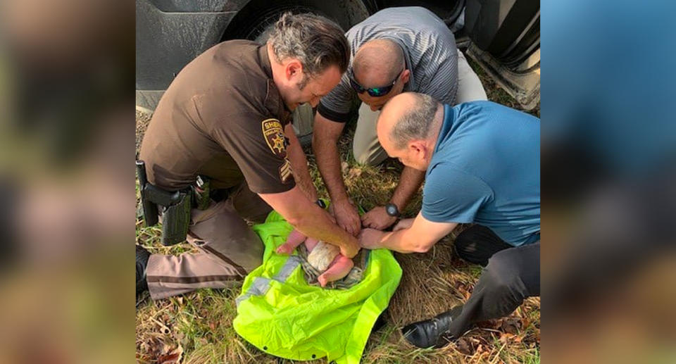 Oakland County Sheriff Deputies rescue a 4-month-old baby in the woods in Lake Orion.
