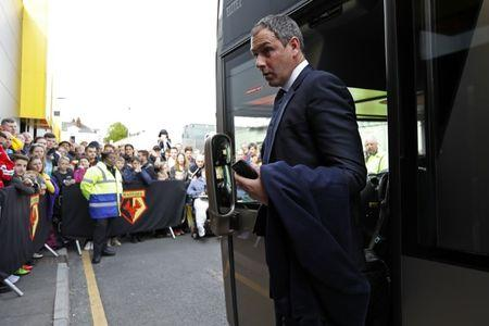 Swansea City manager Paul Clement arrives  before the game