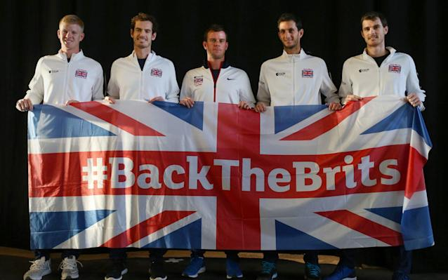 <span>Patriotic: Kyle Edmund, Andy Murray, captain Leon Smith, James Ward and Jamie Murray have been inspired to Davis Cup greatness by national pride</span> <span>Credit: PA </span>