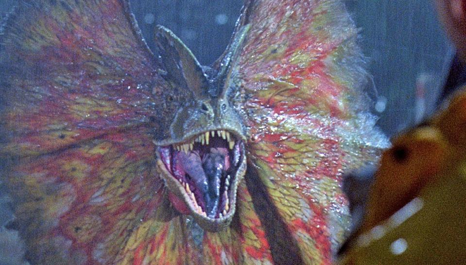 The dilophosaurus was one of the scariest inhabitants of the original Jurassic Park (Universal)