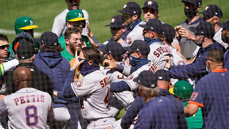 Seen here, the scuffle between Oakland and Houston in MLB.