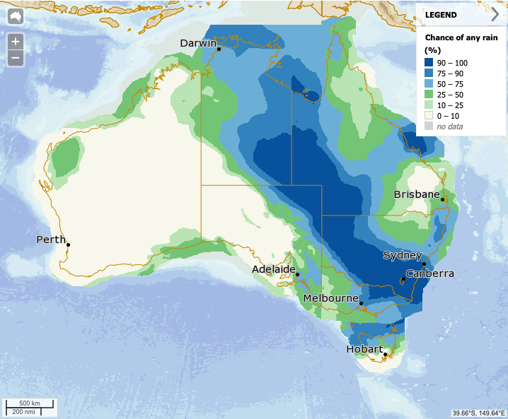 A Bureau of Meteorology map showing rainfall expected for Wednesday. Rain is predicted for the Northern Territory, Queensland, NSW, the ACT, Victoria and Tasmania.