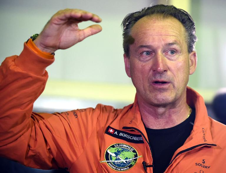 Andre Borschberg, a pilot of Solar Impulse 2 speaks to journalists prior to boarding his plane at the Nagoya airport in Japan on June 24, 2015