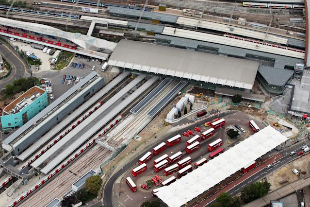 LONDON, ENGLAND - JULY 26: Aerial view of Stratford Interchange, the main station for the Olympic Park for the London 2012 Olympic Games on July 26, 2011 in London, England. (Photo by Tom Shaw/Getty Images)