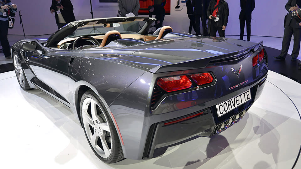 _The new Chevrolet Corvette Stingray is shown during the press day at the 83rd Geneva International Motor Show in Geneva, Switzerland, Tuesday, March 5, 2013. The Motor Show will open its gates to the public from 7th to 17th March presenting more than 260 exhibitors and more than 130 world and European premieres. (AP Photo/Keystone, Martial Trezzini)