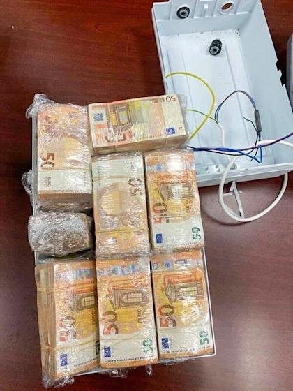 One of two caches of €500,000 found stuffed inside electric water heaters arriving from Germany last year. Photo: Handout