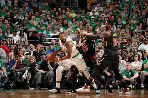 BOSTON, MA - MAY 23: Marcus Morris #13 of the Boston Celtics handles the ball against the Cleveland Cavaliers in Game Five of the Eastern Conference Finals during the 2018 NBA Playoffs on May 23, 2018 at the TD Garden in Boston, Massachusetts. (Photo by Nathaniel S. Butler/NBAE via Getty Images)