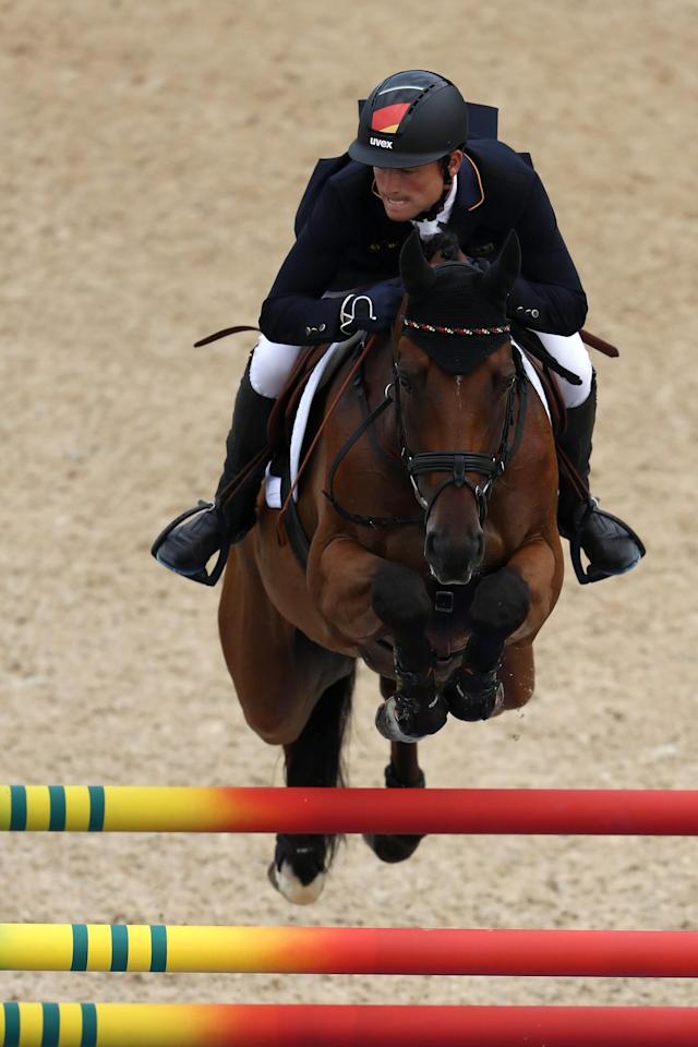 <p>Michael Jung of Germany during the eventing Individual final on Day 4 of the Rio 2016 Olympic Games at the Olympic Equestrian Centre on August 9, 2016 in Rio de Janeiro, Brazil. (Photo by Sean M. Haffey/Getty Images) </p>