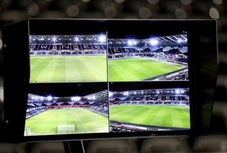 FILE PHOTO: Soccer Football - FA Cup Fourth Round Replay - Swansea City vs Notts County - Liberty Stadium, Swansea, Britain - February 6, 2018 General view of the VAR (Video Assistant Referee) system before the match Action Images via Reuters/Matthew Childs