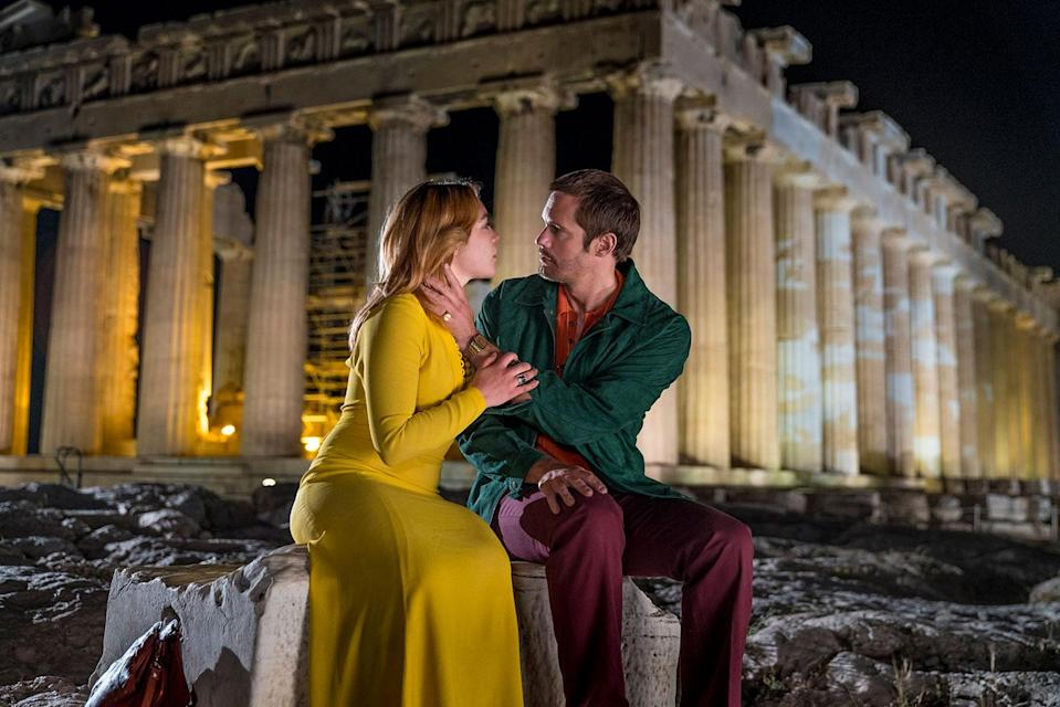 Florence Pugh and Alexander Skarsgård filming in front of the Acropolis in Athens. (BBC One/AMC)
