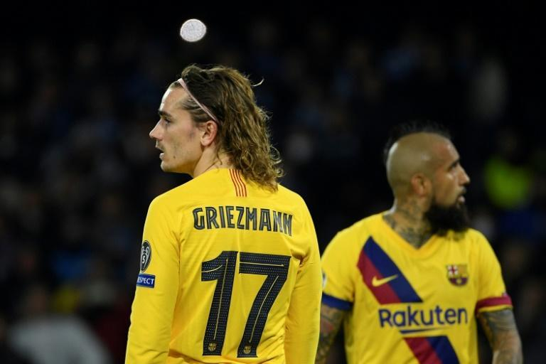 Antoine Griezmann's away goal means Barcelona have the edge against Napoli (AFP Photo/Filippo MONTEFORTE)