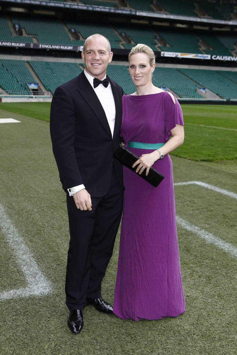 <p>Princess Anne's daughter, Zara Tindall wore a deep purple gown with a belt to the Rugby For Heroes Charity Gala Dinner at Twickenham Stadium, which she attended with her husband, Mike Tindall.</p>