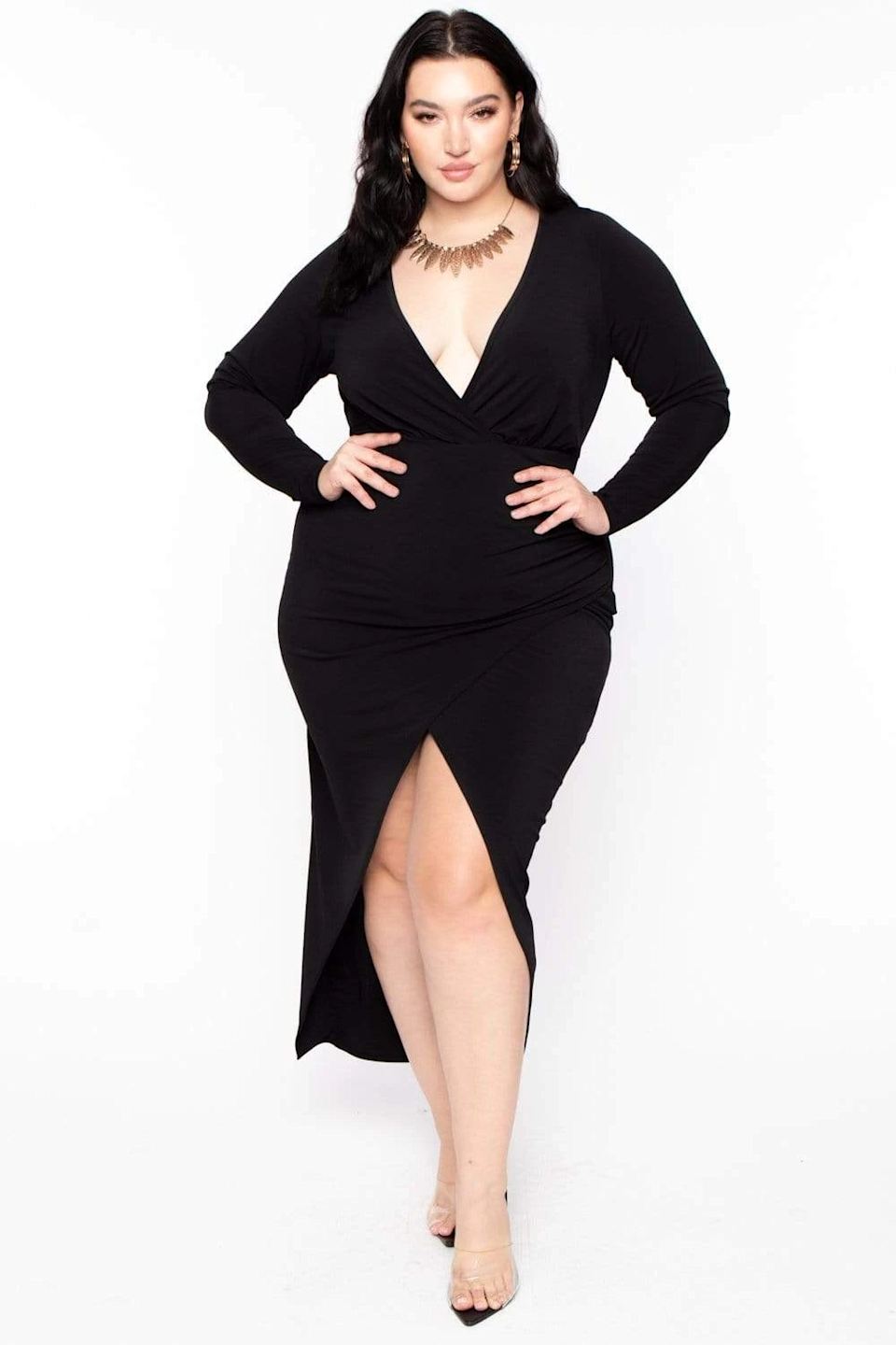 "<br><br><strong>Curvy Sense</strong> Athena Deep V Maxi Dress, $, available at <a href=""https://go.skimresources.com/?id=30283X879131&url=https%3A%2F%2Fcoedition.com%2Fcollections%2Fdresses%2Fproducts%2F4115867467873"" rel=""nofollow noopener"" target=""_blank"" data-ylk=""slk:CoEdition"" class=""link rapid-noclick-resp"">CoEdition</a>"