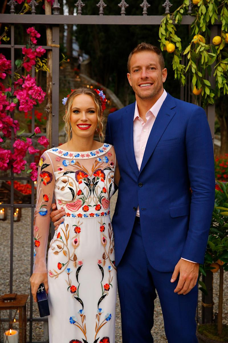 Caroline wore an embroidered dress by Temperley London to her rehearsal dinner.