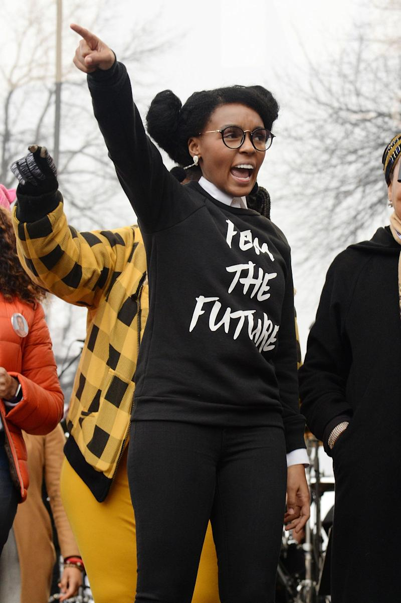 WASHINGTON, DC - JANUARY 21: Janelle Monae speaks onstage during the rally at the Women's March on Washington on January 21, 2017 in Washington, DC. (Photo by Kevin Mazur/WireImage)