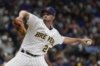 Milwaukee Brewers relief pitcher Aaron Ashby throws during the sixth inning of a baseball game against the Chicago Cubs Friday, Sept. 17, 2021, in Milwaukee. (AP Photo/Morry Gash)