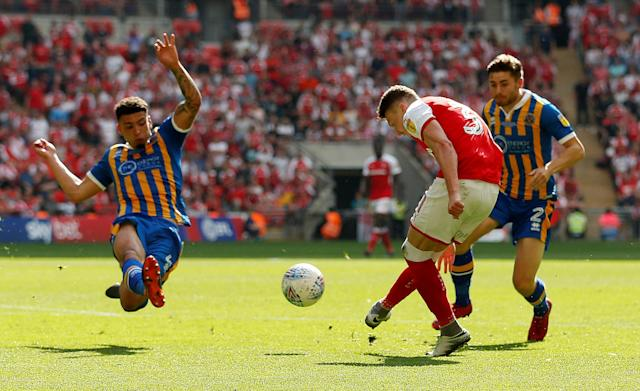 "Soccer Football - League One Play-Off Final - Rotherham United v Shrewsbury Town - Wembley Stadium, London, Britain - May 27, 2018 Rotherham United's Caolan Lavery shoots at goal but misses a chance to score Action Images/Carl Recine EDITORIAL USE ONLY. No use with unauthorized audio, video, data, fixture lists, club/league logos or ""live"" services. Online in-match use limited to 75 images, no video emulation. No use in betting, games or single club/league/player publications. Please contact your account representative for further details."