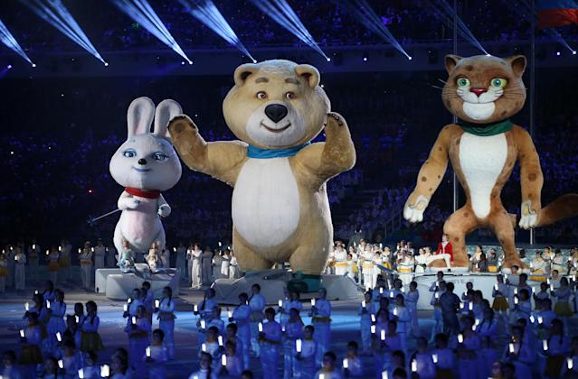 Animal mascots extinguish the Olympic flame during the 2014 Olympic Games in Sochi, Russia. (Photo: Getty Images)