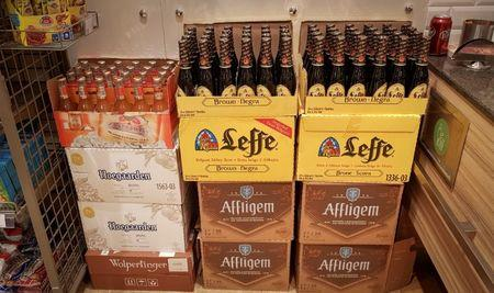 Boxes with bottles of beer are seen in a shop in Moscow