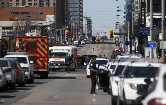 Law enforcement and first responders on scene at Yonge St. at Finch Ave. after a van plows into pedestrians.