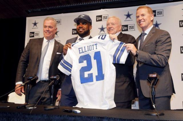 Ezekiel Elliott was selected by the Cowboys with the fourth pick of the draft (AP)